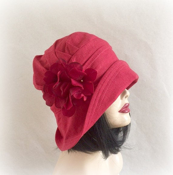 Linen Cloche Womens Flapper Style Hat  1920's Style Red Linen Hat Downton Abbey Cloche Red Hydrangea Pin Summer Sun Hat  Handmade in the USA
