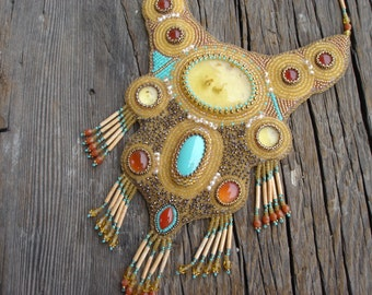 Bead Embroidered Turquoise and Amber Collar