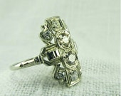 Sale Circa 1930 18kt White Gold and Diamond Ring