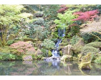 Japanese Garden Digital download / waterfall trees green / nature / Spring photo / Oregon moss / Photograph / Art download / Home Decor