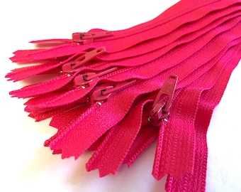 Hot pink dress YKK zippers, 10 pcs, choose size, 4, 5, 6, 7, 8, 9, 10, 12, 14, 16, 18 inches, all purpose zips, YKK color 516
