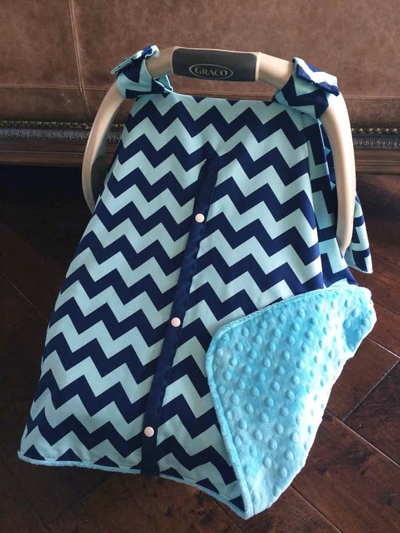 super cute baby car seat covers chevron in navy teal with. Black Bedroom Furniture Sets. Home Design Ideas