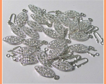Oval  Clasps, Filigree Clasps,  Connectors, Safety Clasp,  Silver plated Brass, 14 x 7 mm,  Pack 1 lot of 24 pieces