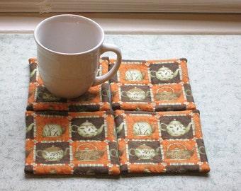 tea kettle  set of mug rugs