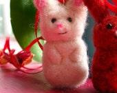 white needle felt wool bunny rabbit ornament necklace