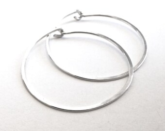 Medium Sterling Silver Hoop Earrings. Hand Hammered Medium Round Sterling Silver Hoops. 1.25 Inch Hoops
