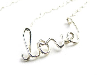 Silver love Necklace. Sterling Silver Love Necklace.
