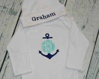 PERSONALIZED Anchor Coming Home Outfit  Infant Gown and Cap set Monogrammed