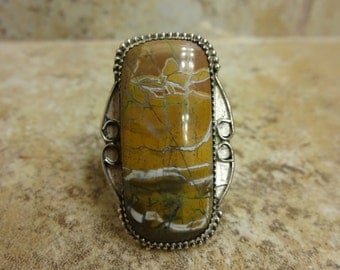 Sterling Silver Stone Creek Jasper Ring - Size 10 - FREE RESIZING