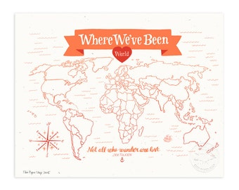Where We've Been: World Map, Poppy Red Illustrated Art Print