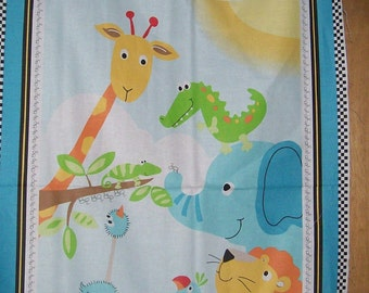 Baby Quilt Baby Jungle Blue Quilting or Wall Hanging Fabric Panel 100% Cotton
