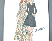 Uncut  early 70s Butterick 6597 Vintage Sewing Pattern Flared Skirt, Gathered Bodice, Mini Dress and Maxi Evening Gown  Bust 36