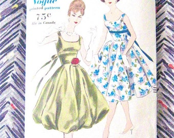 ON SALE 1950s Vogue 9875 Dress Pattern Vintage Sewing Cocktail Dress Bubble Skirt   Bust 34 inches