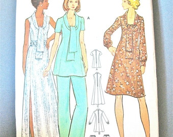 Uncut 70s Butterick 6882 Misses' Vintage Sewing Pattern 1970s Misses Side Slit Long Dress Tunic Pants   Bust 38