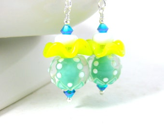 Playful Ruffle Earrings, Citrus Colors Earrings, Mint Green Yellow White Earrings Pastel Glass Earrings Whimsical Earrings Lampwork Earrings