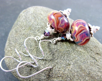 Purple Drop Earrings, Sterling Silver Spiral Earrings, Glass Dangle Earrings, Boro Lampwork Earrings, Boho Earrings, Art Glass Jewelry