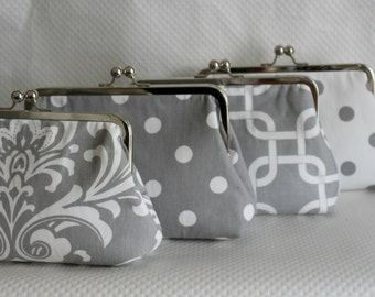 Bridal Clutch - Wedding Clutch - Bridesmaids Clutch - Wedding Purse - Wedding Gifts - Bridesmaid Gifts - Grey Clutch Set - Clutch Set of 4