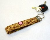 Wristlet Key Fob Amy Butler Fabric Lacework Brown Pink Yellow Key Chain Key Ring Fabric Keyring