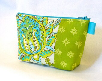 Clearance SALE Amy Butler Dancing Paisley Fabric Large Cosmetic Bag Zipper Pouch Padded Makeup Bag Cotton Turquoise Lime Aqua Soul Blossoms