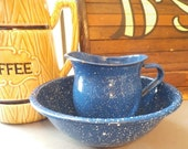 Vintage Blue Speckled Small Enamel Bowl and Pitcher ~ Urban Farm House