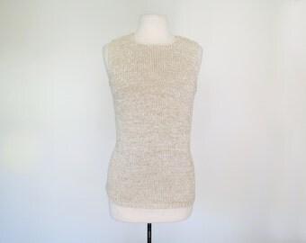OATMEAL // soft hand knit cream 1970s sleeveless sweater S / M / L