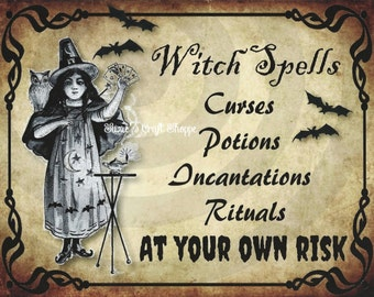 Primitive Vintage Halloween Witch Spells Incantations Rituals Curses Potions Grungy Logo Use for Signs Labels Feedsacks Pillow Jars Cards