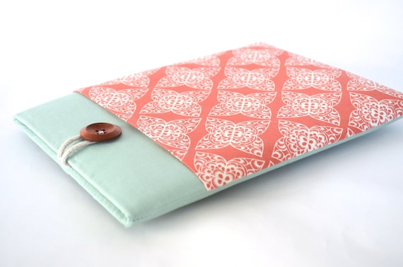 "2017 iPad Case, iPad Air Sleeve 9.7"" 10.5"" iPad Pro Case Cover with Pocket and Padded for any iPad - Coral Damask"
