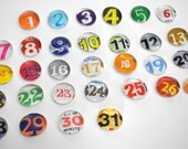 SMALL- 31 number magnet or push pin set - made from recycled magazines, 2016 perpetual calendar, teacher, organize, back to school
