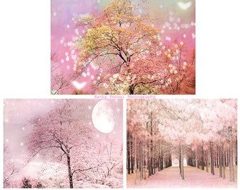 Dreamy Pink Nature Print Set, Baby Girl Nursery Decor, Pink Nature Photography, Pink Girls Room Wall Art, Set of 3 Pink Nature Trees Prints