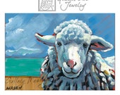 Sheep Painting, Blues and White, A Small Original Painting on a 5 x 7 inch Panel