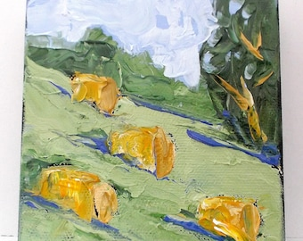 Miniature Impressionist Painting 4x4 HAY BALES Meadow LANDSCAPE Lynne French Art Free Shipping