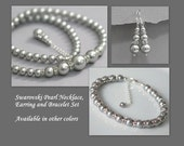 Wedding Jewelry, Swarovski Light Grey Pearl Necklace, Earring and Bracelet Set, Bridal Jewelry, Maid of Honor Gift, Mother of the Bride Gift