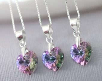 CUSTOM COLOR Flower Girl Necklace, Purple Necklace, Swarovski Vitrail Light Heart Necklace, Sterling Silver Heart Necklace, Gift for Her