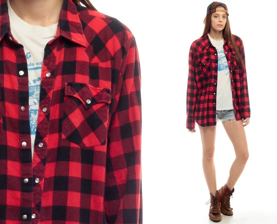 Flannel Shirt 90s Red Buffalo Plaid Shirt Check By Shopexile