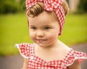 Perfect Picnic Red and White Gingham - Dolly Rosie Scarf - Better than a Head Wrap - Retro Vintage Infant, Baby, Toddler, Girl, Teen, Adult