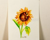 Sunflower watercolor painting / ten most interesting flower series / Original watercolor / flower painting 5 x 7