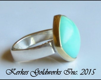 Chrysoprase Ring Gold Silver Handmade