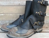 Swiss Military Style Gaiters or Spats in Oiled Black Leather w Antiqued Brass Hardware