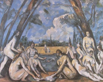 Paul Cezanne, The Large Bathers, Mature Content, Color Plate of 1906 Oil on Canvas, Unframed Fine Art Book Print