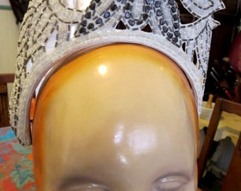 1930s-1940s Vintage Wedding Tiara Crystal & Gray Beading With Rhinestones Showgirl Crown