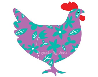 Hen chicken applique template | PDF applique pattern | applique template