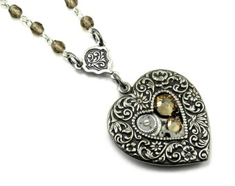 Steampunk Necklace - Coeur Mécanique - Mechanical Heart Rosary Necklace with Watch Movement, Topaz Swarovski Crystals