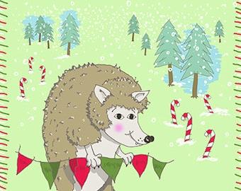 Holiday Hedgehog 11 X 14 Print