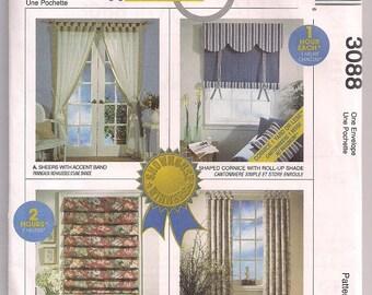 Tab Curtains, window cornice, roll up shade, soft fold shade, McCalls 3088, window treatments, home decor pattern