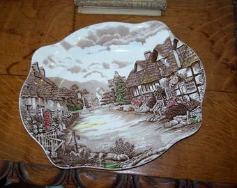 Johnson Brothers, Serving Platter, Olde English, English Countryside, Brown Transferware, Thatched Cottage, Vintage, Serving Piece, Vintage