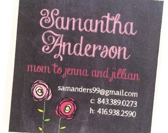 Calling Cards, Business Cards, Mommy Cards - Chalkboard Style and Flowers Pink - Set of 60  - Square Calling Cards
