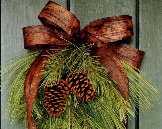 Simply Winter Pine Cone And Ribbon Swag Holiday Wreath