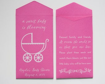 Personalized Dark Pink Seed Packet Baby Shower Favors - Many Colors Available