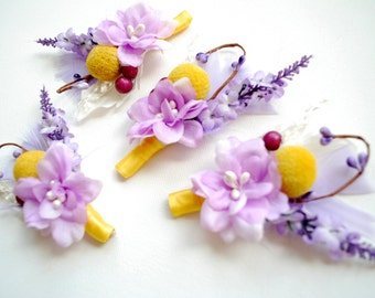 Billy Ball Boutonniere, Yellow Lavender Grooms Boutonniere, Weddings Accessories, Bridesmaids Pin, Groomsmen Boutonnieres, Autumn Wedding