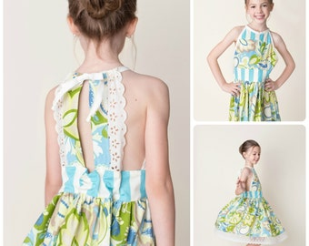 Girls Spring Dress - Vintage Inspired - Mothers Day - Lace Trim - Floral - Birthday - Special Occasion - Celebration - Pictures - Photoshoot